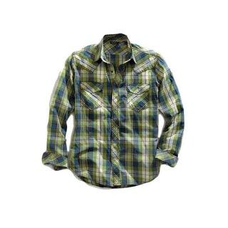 Tin Haul Western Shirt Mens L/S Snap Plaid Green 10-001-0062-0432 GR