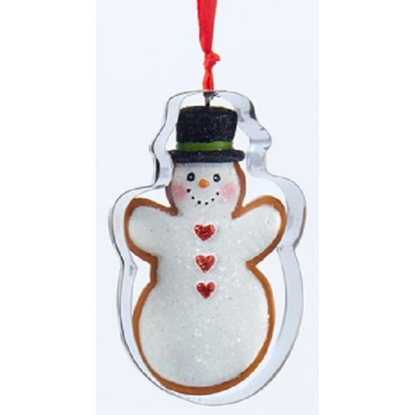 """3.5"""" Gingerbread Kisses Glittered Iced Snowman Inside a Metal Cookie Cutter Christmas Ornament - brown"""