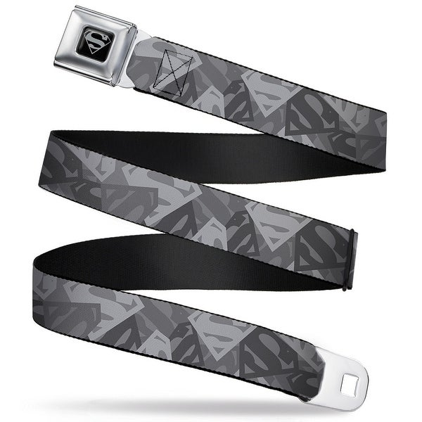 Superman Black Silver Superman Shield Camouflage Grays Webbing Seatbelt Seatbelt Belt