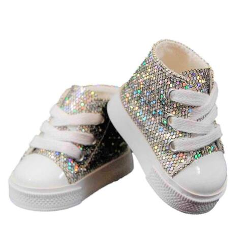 18 Inch Girl Doll Clothes Accessory, Silver Sparkle American Sneakers Plus Authentic Shoe Box