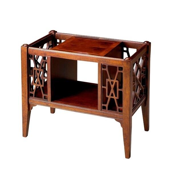 Traditional Rectangular Wooden Magazine Basket in Plantation Cherry Finish - Dark Brown