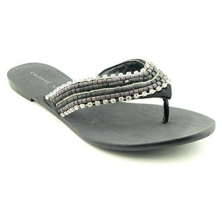 Chinese Laundry Get It Back Women Open Toe Canvas Black Flip Flop Sandal