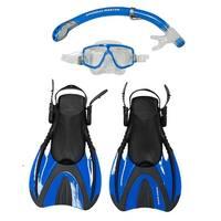 Snorkel Master Snorkeling Adult Mask, Snorkel, & Fins Set, Blue