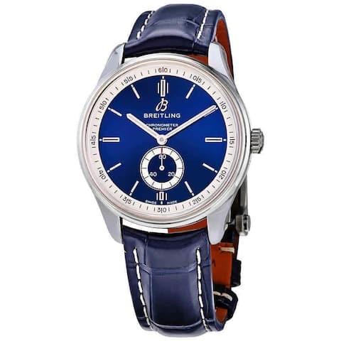 Breitling Men's A37340351C1P1 'Premier' Blue Leather Watch