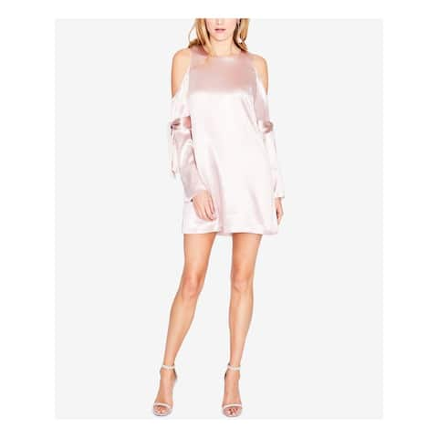 RACHEL ROY Womens Pink Cold Shoulder Tie-sleeve Long Sleeve Jewel Neck Mini Shift Party Dress Plus Size: 10