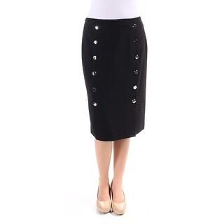 CALVIN KLEIN $90 Womens New 1607 Black Above The Knee Faux Wrap Skirt 2 B+B
