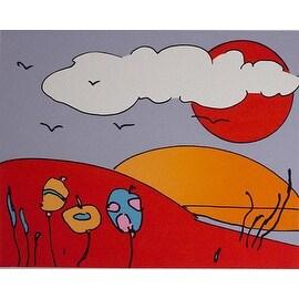 Sun & Moon Landscape, Vintage Ltd Ed Silk-screen, Peter Max