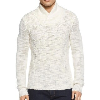 Calvin Klein NEW White Ivory Men 2XL Cable Knit Shawl Collar Sweater