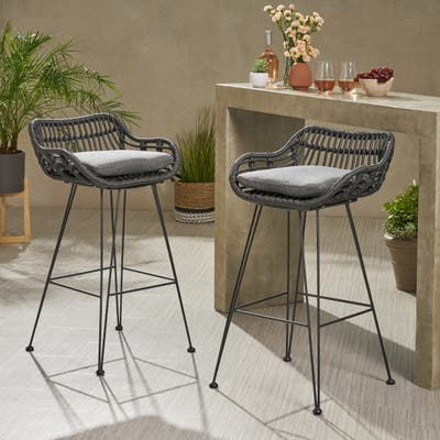 Dale Wicker Bar Stool with Cushion (Set of 2) by Christopher Knight Home