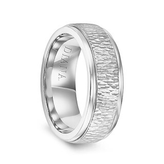 14k White Gold Hammered Raised Center Polished Step Edges Men S Wedding Ring By Diana 7 5mm