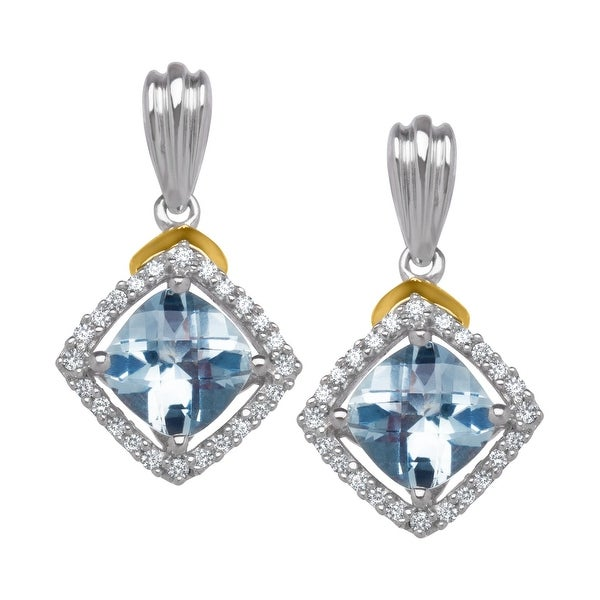 1 3/4 ct Aquamarine & 1/8 ct Diamond Drop Earrings in Sterling Silver & 14K Gold - Blue