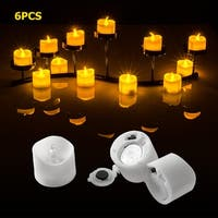 Image 6PCS Flameless LED Tealight Light Candles Battery Operated Amber Yellow