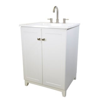 """Design House 547232 24"""" Vanity Cabinet with Laundry Sink - semi gloss white"""