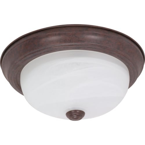 "Nuvo Lighting 60/2624 2 Light 11.4"" Wide Flush Mount Ceiling Fixture with Alabaster Glass Shade"