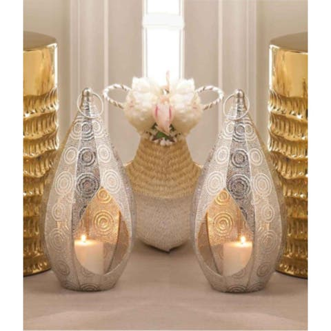 Set of 2 Moroccan Style Silver Teardrop Hanging Lanterns