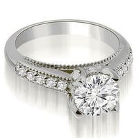 0.80 cttw. 14K White Gold Cathedral Milgrain Round Cut Diamond Engagement Ring