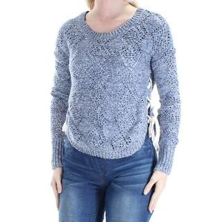 Womens Blue Long Sleeve Jewel Neck Casual Sweater Size XS