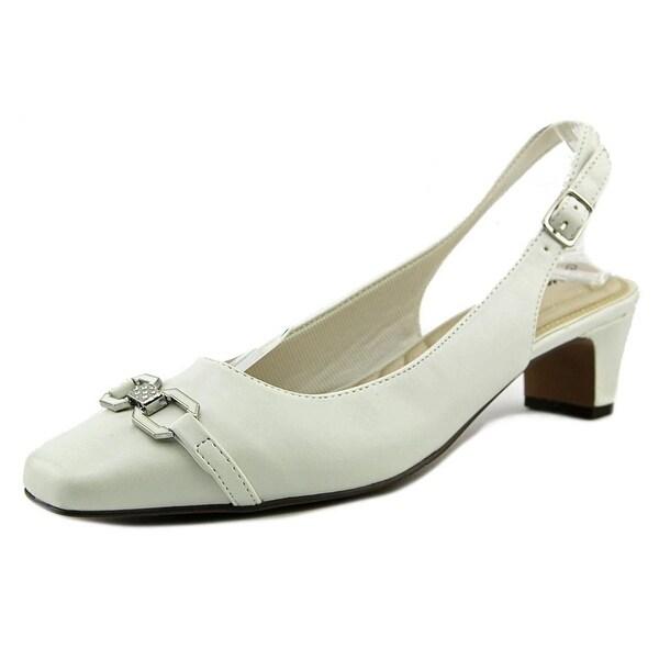 Easy Street Amelia Women Round Toe Synthetic White Slingback Heel
