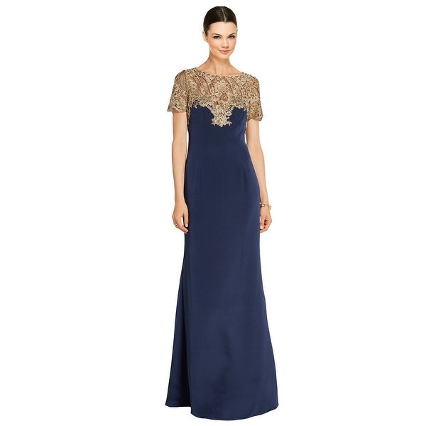 f5e1ee501b Marchesa Notte Metallic Embroidered Tulle Cap Sleeve Evening Gown Dress Navy