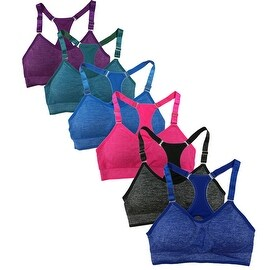 Women's 6 Pack Bright Heather Color Adjustable Straps Atheletic Sports Yoga Bras