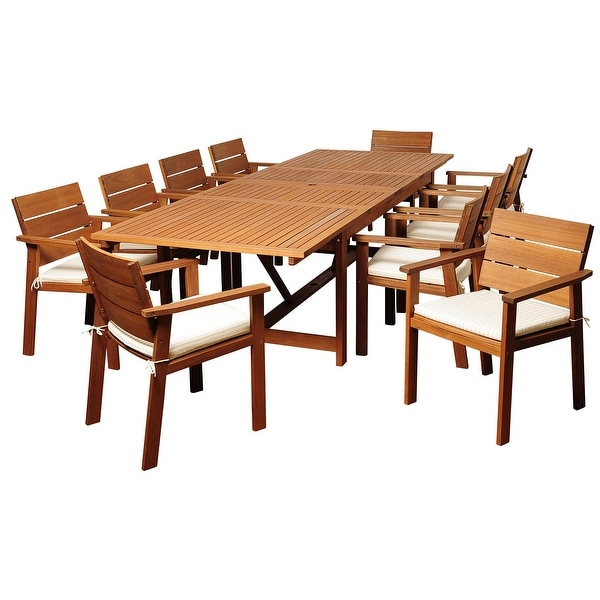 Gerald 11-Piece Outdoor Dining Set Eucalyptus Rectangular Patio Furniture Off-White and Beige Striped Cushions. Opens flyout.