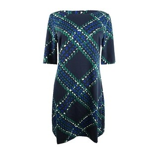 Link to Jessica Howard Women's Petite Printed Elbow-Sleeve Sheath Dress - Navy/Green Similar Items in Petites