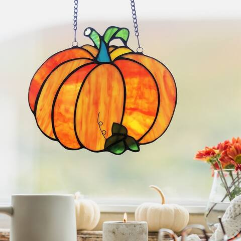 """River of Goods 7.25""""H Patch The Pumpkin Stained Glass Window Panel"""