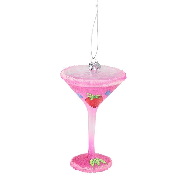 Happy Hour Blown Glass Happiness is a Berry Martini Cocktail Christmas Ornament - PInk