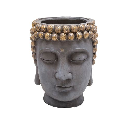 """16.75"""" Gray and Gold Buddha Head Standing Planter"""