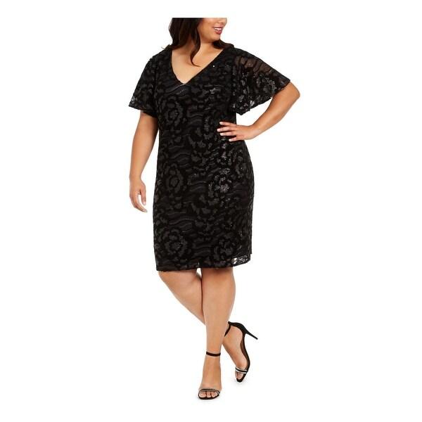 CALVIN KLEIN Black Short Sleeve Knee Length Sheath Dress Size 16W. Opens flyout.