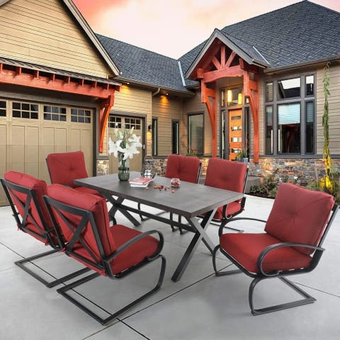 Sophia & William 7 Piece Outdoor Patio Dining Set, 6 Spring Motion Chairs with Cushions and 1 Rectangular Metal Table