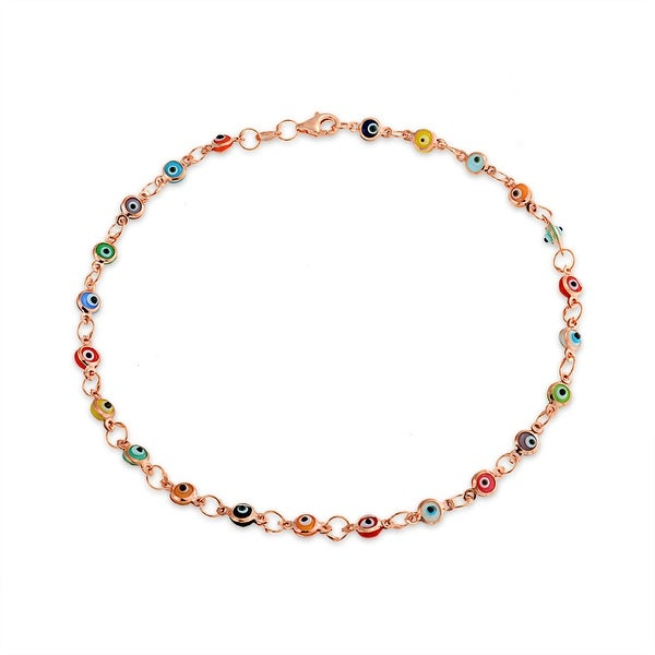 c471a6ee0 Shop Turkish Evil Eyes Multi Color Anklet Link Ankle Bracelet For Women  Rose Gold Plated 925 Sterling Silver 10 Inch - On Sale - Free Shipping On  Orders ...