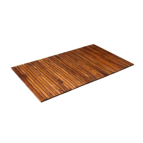 Nordic Style Oiled Extra Large Teak String Mat with Rubber Footing 59 x 35