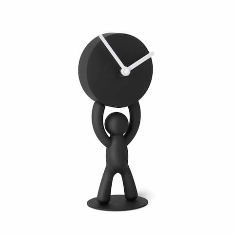 "Umbra 118510-040 4-1/8"" x 3-1/2"" Buddy Resin Analog Accent Clock - Black"