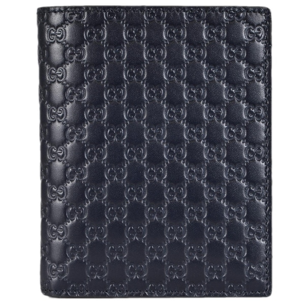 Gucci 292533 Men's BLUE Leather Micro GG Guccissima Vertical Bifold Wallet