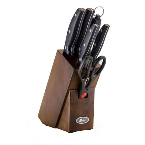 Oster Granger 7 Piece Cutlery Set with Wood Block - Black