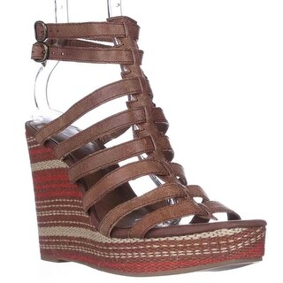 Lucky Brand Labelle Wedge Sandals, Almond Combo