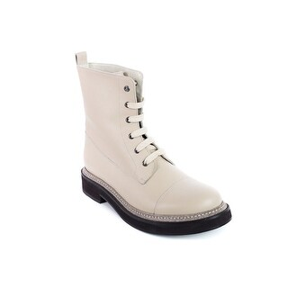 Brunello Cucinelli Women's Ivory Leather Glitter Trim Lace Up Boots
