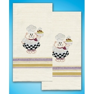 "Stamped Kitchen Towels For Embroidery 20""X28"" 2/Pkg-Cat Chef"