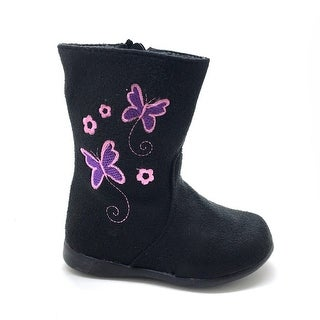 Little Girls Black Butterfly Embroidered Side Zip Boots