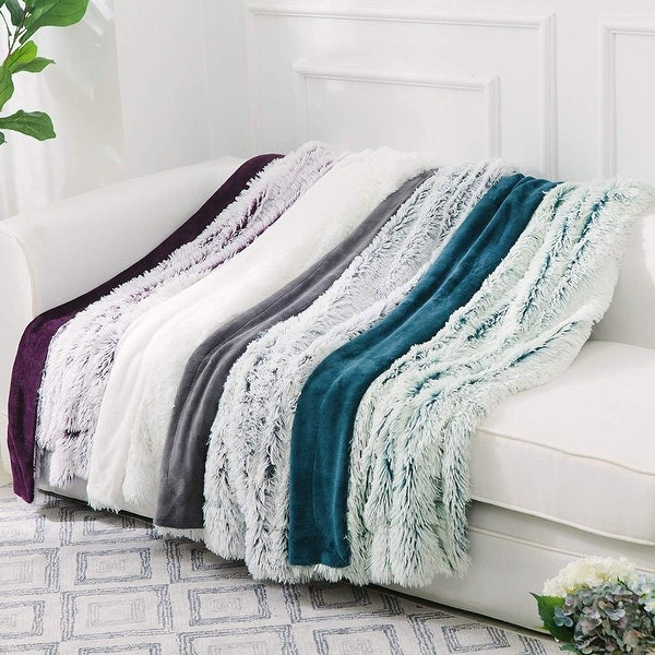 Cheer Collection Reversible Faux Fur Accent Throw Blanket. Opens flyout.