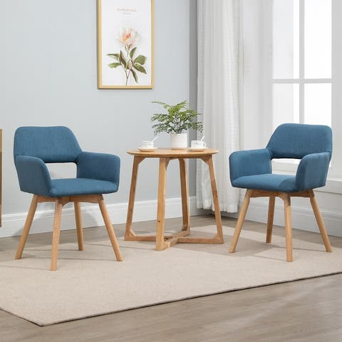 HOMCOM Set of 2 Modern Accent Arm Chairs with Fabric Surface and Solid Wood Frame - 21.25*21*30