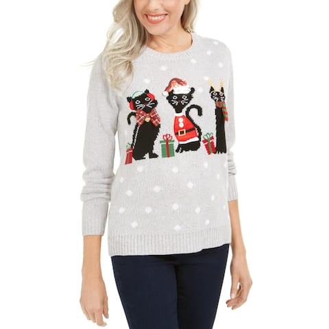 Karen Scott Womens Pullover Sweater Holiday Cat Applique - Grey Combo