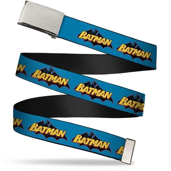"""Blank Chrome 1.0"""" Buckle Vintage Batman Logo Blue Webbing Web Belt 1.0"""" Wide - S"""