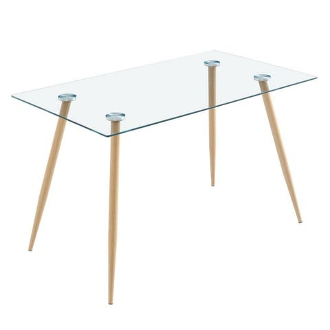 Modern Rectangle Tempered Glass Dining Table