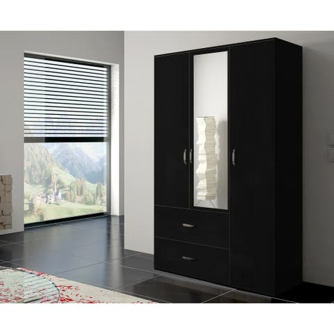 Copper Grove Oldroad 47-inch Black Wood and Glass Armoire