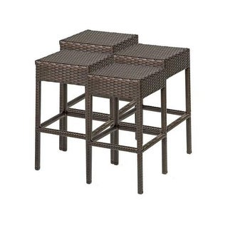 "Miseno MPF-TKC201BBS-2X Wine Country 4-Piece 30"" Tall Aluminum Framed Outdoor Backless Barstool Set - Brown"