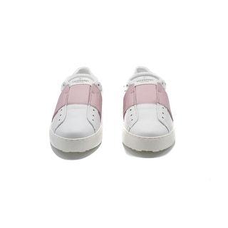 Valentino Women's Leather Patent Pink Band White Sneakers - 8