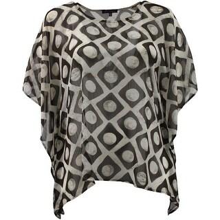 Women - Plus Size Draped Half Sleeve Multi Color Design Blouse Tee Shirt Top Ivory