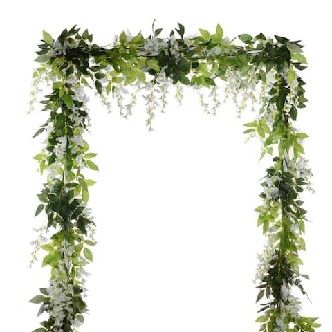 Garden Outdoor Ceremony Wedding Arch Floral Decor (White)